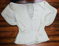 Vintage 1970s Unbranded Womens Sweater Mohair HandKnit  Cardigan Size S Beige