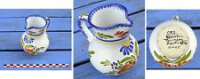 Petit vase pichet à eau ou à lait en faïence de Quimper, Keraluc, parfait état