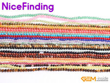 """2mm Natural Round Gemstone Small Tiny Spacer  Beads For Jewellery Making 15"""""""