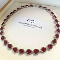 White gold finish pear cut red ruby and created diamond necklace gift boxed