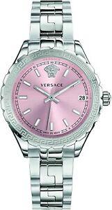 Versace Hellenyium Pink Dial Stainless Steel Ladies Watch V12010015 1Yr Warranty