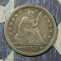 1853 SEATED LIBERTY SILVER QUARTER COLLECTOR COIN. FREE SHIPPING