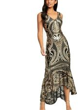 Forever Unique Black And Gold Sequin Patterned Dipped Hem Maxi Dress £130 Size 8