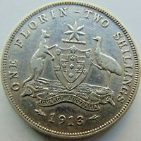 1913 AUSTRALIA George V, silver  Florin, Grading About VERY FINE.