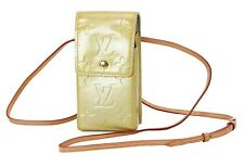 Auth LOUIS VUITTON Silver (Yellow) Vernis Cigarette Case Shoulder Pouch #37253