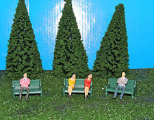 LOT of 10 PIECES Park Benches/Trees/Figurines Plasticville Lionel for O/027
