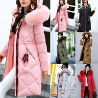 UK Down Padded Parka Fur Collar Womens Winter long Hooded Coat Quilted Jacket