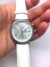 MICHELLE WOMAN'S CSX DIAMOND CHRONOGRAPH WATCH W/WHITE LEATHER BAND REDUCED!