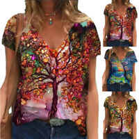 Women's 3D Printing V Neck Loose Top Tunic Summer Short Sleeve Casual Blouse Tee