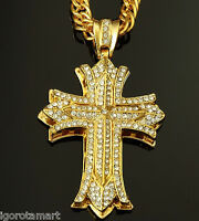 Man's 18 K Gold Filled Iced Bling Chain Necklace Large Cross Crucifix Pendant