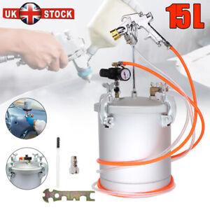 Paint Pressure Pot / Tank 15Ltr Air Regulator Spray Gun Sprayer 2x 10ft Hoses UK