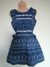 Answer Korean  Blue & White lined, Dress with elasticated waist. To Fit s/m.