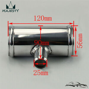 """2.25"""" 57mm OD Aluminium T-Piece Pipe Hose 3 Way Connector Joiner Spout 25mm OD"""