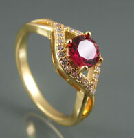 GOLD PLATED CROSSOVER DESIGN RING RED CUBIC ZIRCONIA SOLITAIRE AND CLEAR ACCENTS