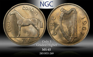 1967 IRELAND 1/2 CROWN / 2 SCILLING NGC MS65 ONLY 3 GRADED HIGHER TONED
