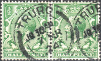 "GB - KGV SG 351 (pair) 1/2d GREEN CANCELLED BY ""TRURO"" (Cornwall) CDS"