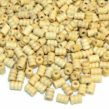 W688f Natural Brown 10mm Corrugated Round Tube Wood Spacer Beads 450-500/pkg