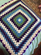 New Handmade Crochet Bulk Weight Cozy Ladies Square Afghan Blanket Blue Flower