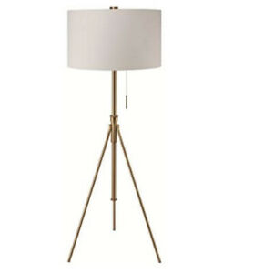 58 in. to 72 in. Matte Gold Contemporary Adjustable Tripod Floor Lamp