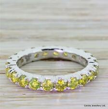 1.76ct FANCY VIVID YELLOW DIAMOND FULL ETERNITY BAND RING - Platinum