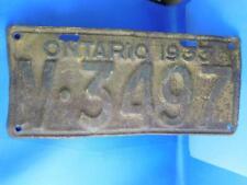 ONTARIO LICENSE PLATE 1933 V3497 VINTAGE MAN CAVE CAR SHOP GARAGE SIGN