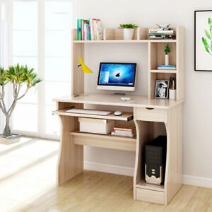 Computer Desk with Top Shelves PC Laptop Study Table Home Office Workstation UK