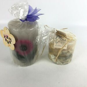 Set of 2 Decorative Candles Floral Daisy Meadow Candle / Water Colors Collection