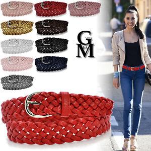 Cintura donna pelle intrecciata casual rossa elegante maxi pull jeans new sexy
