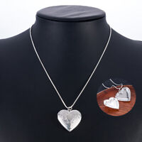 Heart-Shaped Photo Locket Pendant 925 Silver Chain Necklace Wedding Jewelry Gift