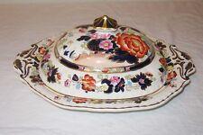 1930 Masons Mandarin Oval Covered Serving Bowl Oriental Cobalt Gold England