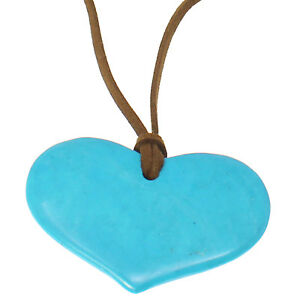 Semi precious agate blue stone heart pendant lagenlook suede long necklace