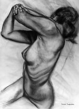 Original Charcoal Drawing Nude Female Figure Art Tonal Gesture Expressionism NR