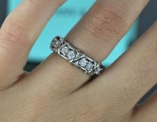 $9900 Tiffany & Co Schlumberger Platinum 1.14ct Round Diamond X Ring Band 5