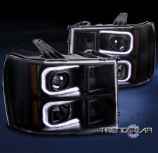 FOR 2007-2013 GMC SIERRA OPTIC LED BAR BLACK PROJECTOR HEADLIGHT HEADLAMP PAIR