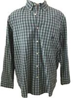 CHAPS mens shirt size L large blue green plaid short sleeve Easy Care cotton