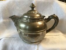Rochester Stamping Works Ornate Teapot Coffee Pot Hinged Lid ~ 1800s Antique