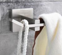 New Stainless Steel Brushed Nickel Square Towel Coat Hooks Dual Robe Hook Hanger