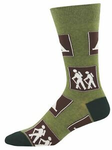 Socksmith Mens Crew Socks Signs of the Trail Hiking Camping Novelty Footwear