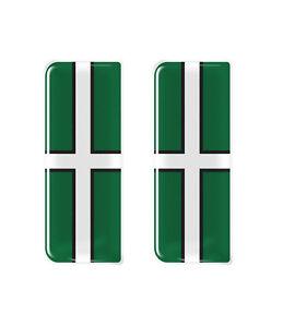 2x Devon County Flag - Gel Domed Number Plate Badges/Decals 107x42mm