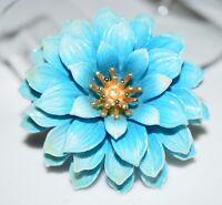 VTG CROWN TRIFARI Gold Tone Blue Celluloid Flower Brooch Pin (B)