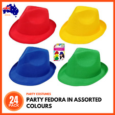 24 x FEDORA TRILBY HAT CAP Bright Party Costume Hats School Carnival Sport Event