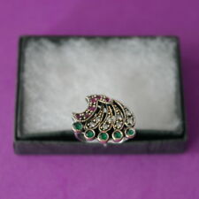 Silver Ring With Turkish Ruby Emerald And Topaz 5.5 Gr.2 x 1.5 Cm. Wide Size N