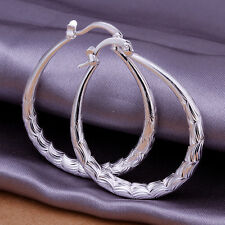 UK Stock Sale Silver Plated Stamped Fashion OVAL Earrings Jewellery E295
