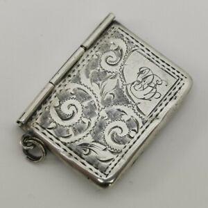 Vintage 1904 Adie Lovekin Solid Sterling Silver Envelope Stamp Case Pendant Fob