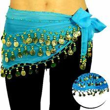 Bauchtanz Hüfttuch blau türkis Tanztuch Münzgürtel Orientalische Belly Dance