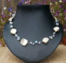 *Freedom Tree* Moonstone & Cream Shell Gemstone Necklace Hand Made Chakra