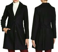 CeCe by Cynthia Steffe AVA A-Line Three Button Wool Blend Coat in Black Size 10