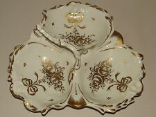 LOVELY RARE LARGE COULEVRE LIMOGES FRANCE 3 SECTIONAL HANDLED DISH GOLD ROSES