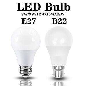 6X 10X E27 B22 LED Bulbs Bayonet Screw Light Globe 7W/9W/12W/15W/18W Cool White