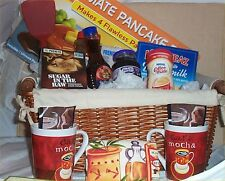 Gift Basket Pancake Pan & Mix Deluxe Syrup Kitchen Towel Coffee Mugs Cocoa Jam